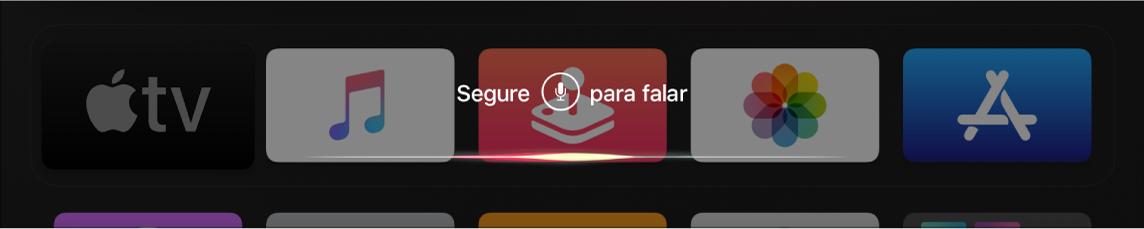 Tela de Início mostrando a Siri aguardando um comando