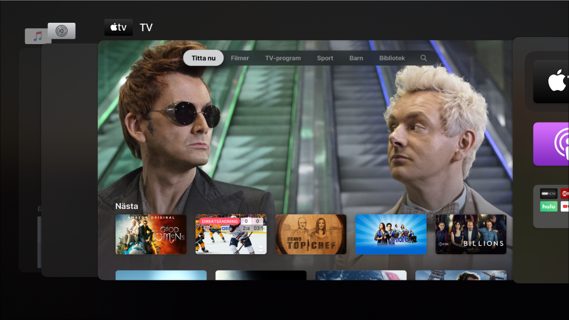 AppleTV-skärm med appväxlaren