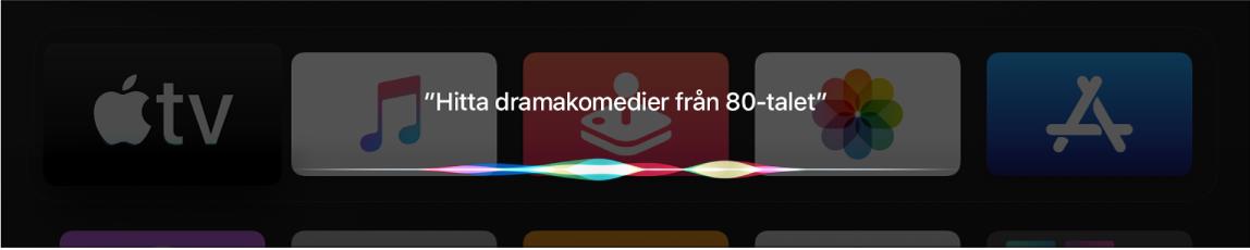 TV-skärm som visar filmsökning med Siri efter genre och datum