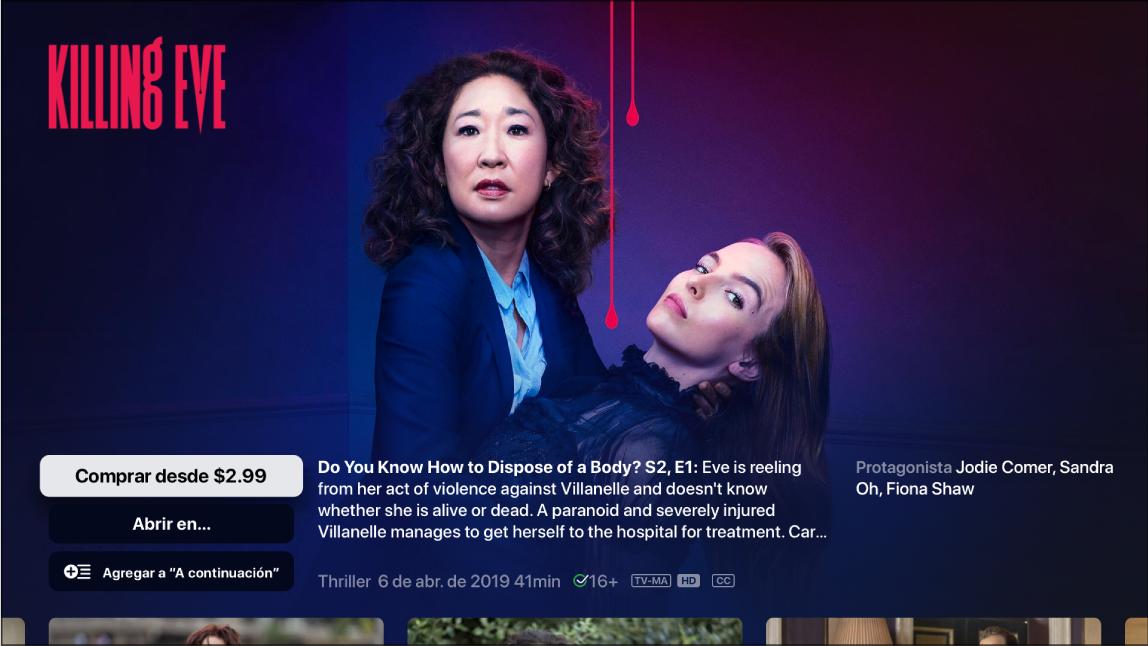Pantalla de información de un programa de TV