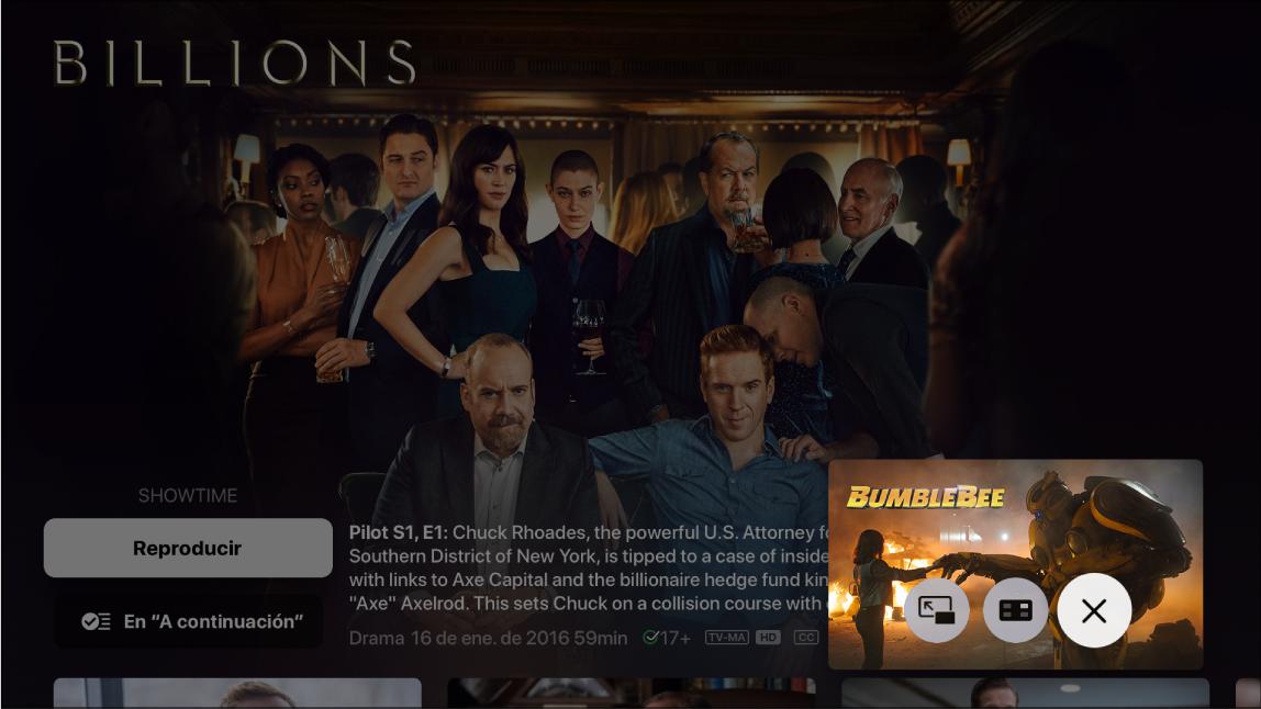 Se muestra la función imagen dentro de otra en la app TV