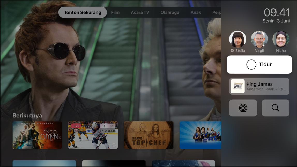 Layar Apple TV menampilkan Pusat Kontrol