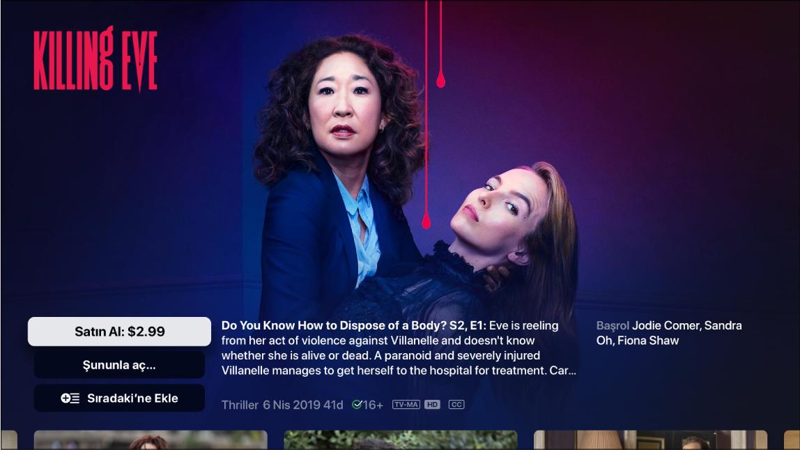TV şovu bilgisi ekranı