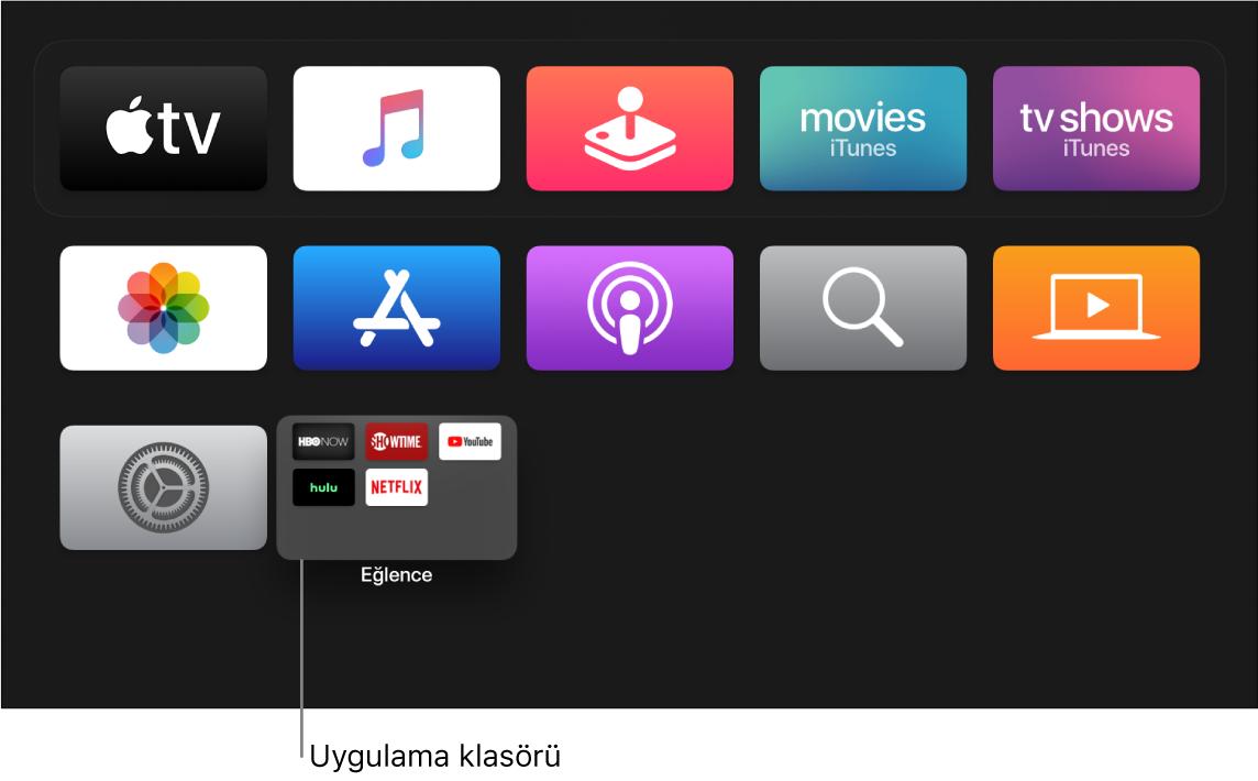 Uygulama klasörünü gösteren ana ekran
