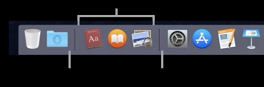 الطرف الأيسر من Dock. يمكنك إضافة التطبيقات إلى يمين قسم التطبيقات المستخدمة حديثًا وإضافة المجلدات إلى يسار هذا القسم، حيث يوجد مكدس التنزيلات وسلة المهملات.