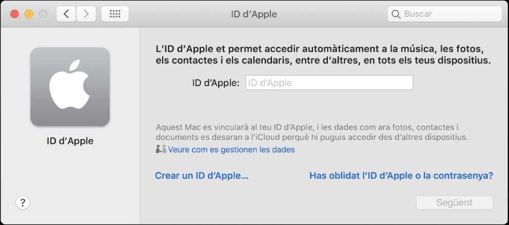 """Quadre de diàleg de l'IDd'Apple, a punt per a la introducció d'un IDd'Apple. L'enllaç """"Crear un ID d'Apple"""" et permet crear un nou ID d'Apple."""