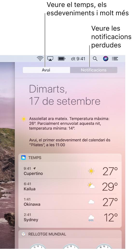 Vista Avui amb la previsió meteorològica a tres llocs diferents. Fes clic a la pestanya Notificacions per veure les notificacions que no has atès.