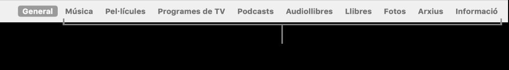 La barra de botons, que mostra el botó General i els botons per al continguts, com ara música, pel·lícules, programes de TV i altres.