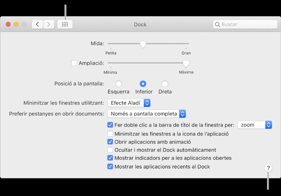 """Fes clic a """"Mostrar-ho tot"""" per veure totes les icones de preferències. Fes clic al botó Ajuda per obtenir més informació del tauler."""