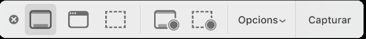 El tauler d'eines de Captura de pantalla.
