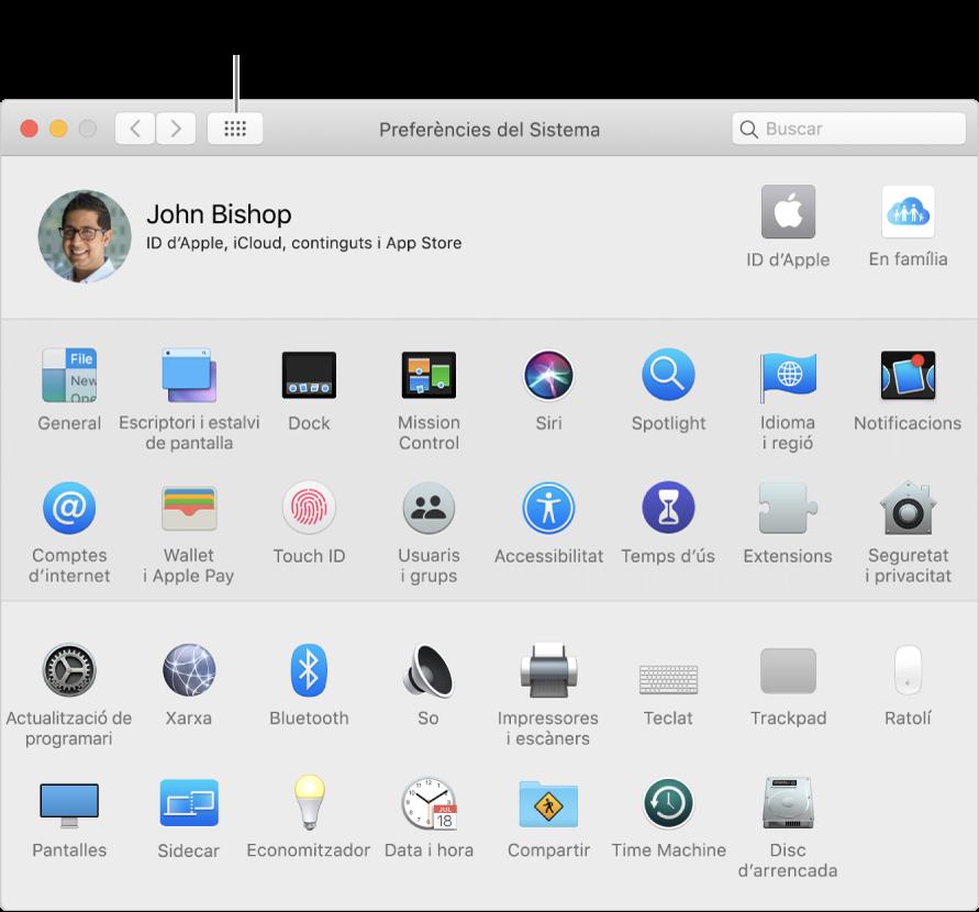 """Finestra de Preferències del Sistema que mostra una retícula d'icones. Fes clic al botó """"Mostrar‑ho tot"""" de la barra d'eines de la finestra per veure les preferències del sistema en forma de llista o canviar l'aspecte de la retícula."""