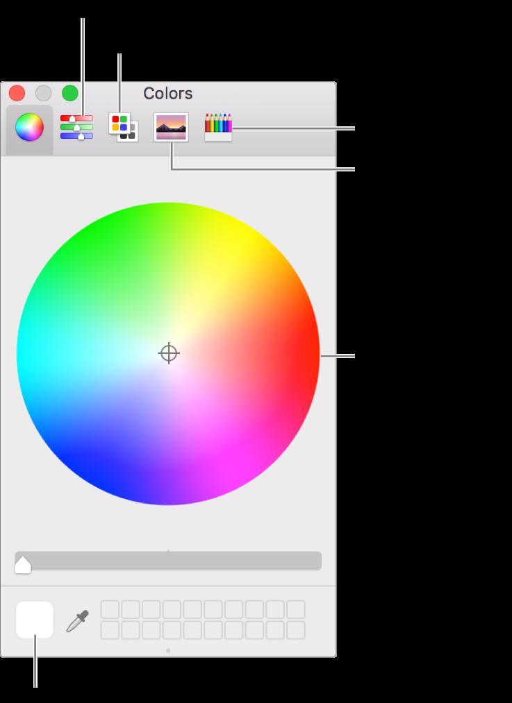 La finestra Colors. A la part superior de la finestra hi ha la barra d'eines, que conté botons per als reguladors de color, les paletes de colors, les paletes d'imatges i els llapis. Al centre de la finestra hi ha la roda de color. La paleta de colors és a la part inferior esquerra.