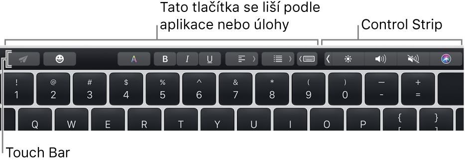 TouchBar na horním okraji klávesnice