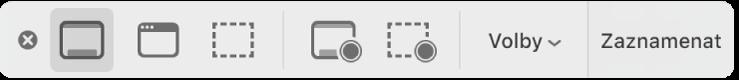 Panel nástrojů pro Snímky obrazovky.