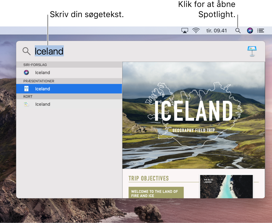 Spotlight-menuen, der viser et eksempel på en søgning med søgeresultater.