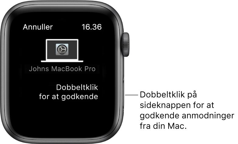 Apple Watch viser en anmodning om godkendelse fra en MacBook Pro.