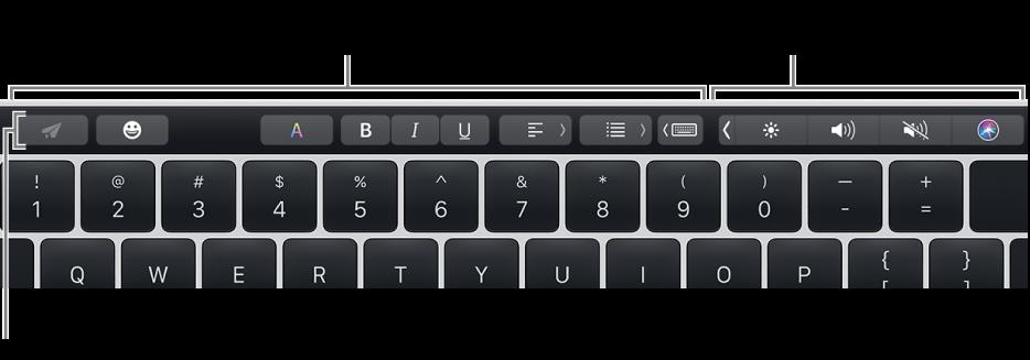 Touch Bar langs toppen af tastaturet med knapper, der skifter afhængigt af program eller opgave, til venstre og den formindskede Control Strip til højre.