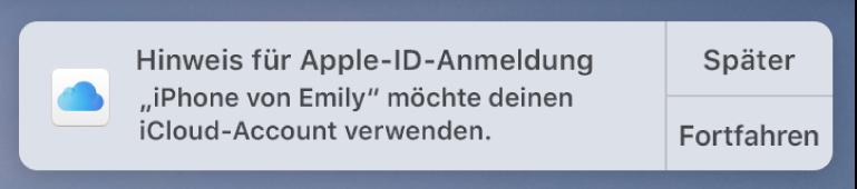 Eine Mitteilung für das Gerät, das eine Bestätigung für den iCloud-Schlüsselbund anfordert