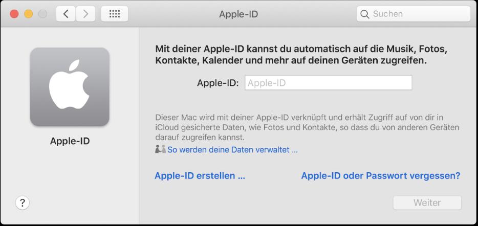 """Apple-ID-Dialogfenster für die Eingabe eines Namens für eine Apple-ID Ein Link """"Apple-ID erstellen"""" ermöglicht es dir, eine neue Apple-ID zu erstellen."""