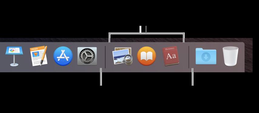 Το δεξιό άκρο του Dock. Προσθέστε εφαρμογές στα αριστερά της ενότητας των πρόσφατα χρησιμοποιημένων εφαρμογών και φακέλους στα δεξιά αυτής της ενότητας, όπου βρίσκεται η στοίβα «Λήψεις» και ο Κάδος.
