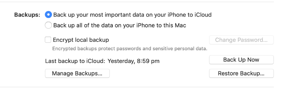 "The options for backing up data from a device appear showing two buttons to select backing up to iCloud or onto the Mac, an ""Encrypt local backup"" tick box for encrypting backup data, and additional buttons for managing backups, restoring from a backup and starting a backup."
