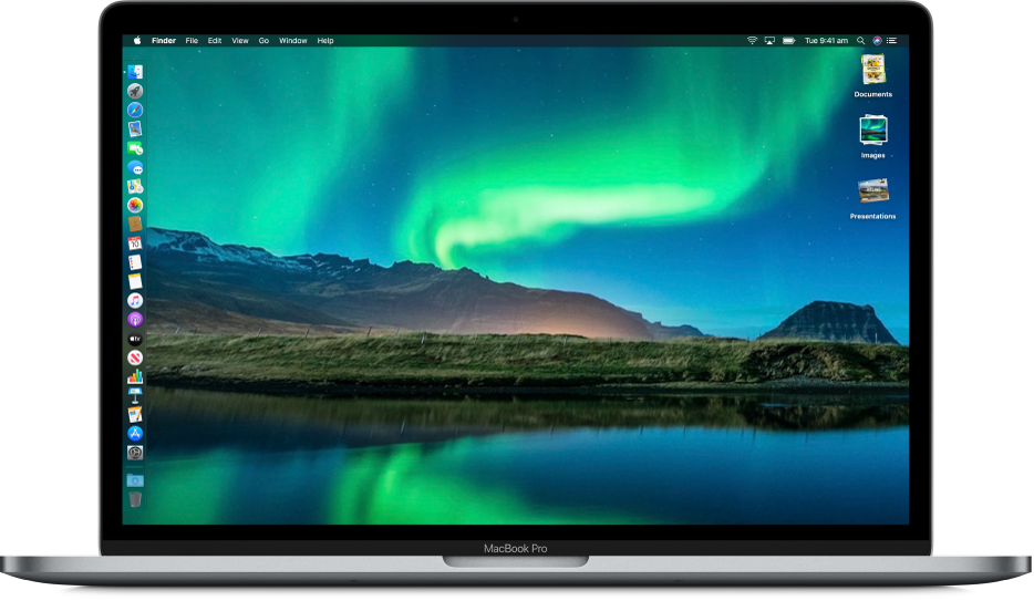 A Mac desktop with Dark Mode, a custom desktop picture, the Dock positioned along the left edge of the screen, and desktop stacks along the right edge of the screen.