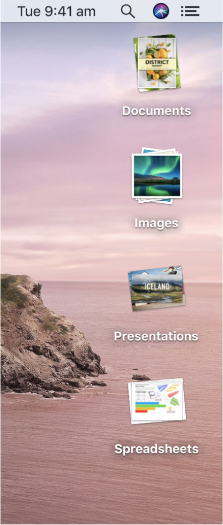 A Mac desktop with four stacks — for documents, images, presentations, and spreadsheets — along the right edge of the screen.