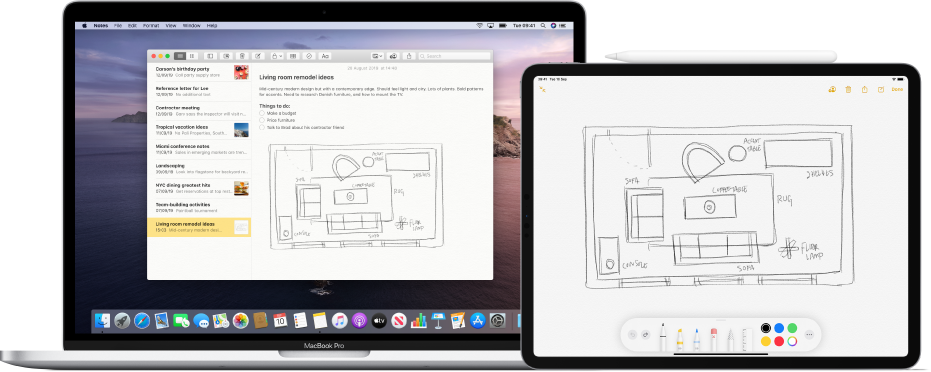 An iPad showing a sketch in a document and, next to it, a Mac showing the same document and sketch.