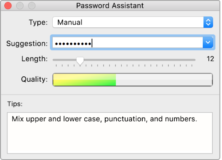 Password Assistant window showing options for creating a password.