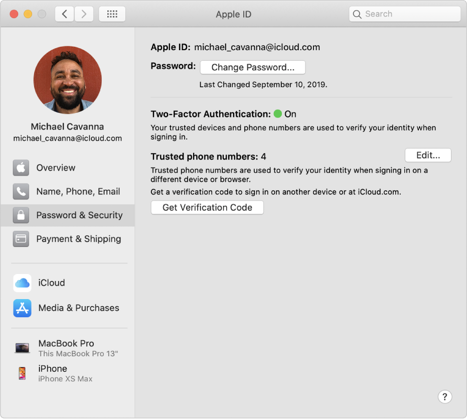 Apple ID preferences showing a sidebar of different types of account options you can use and the Password & Security preferences for an existing account.