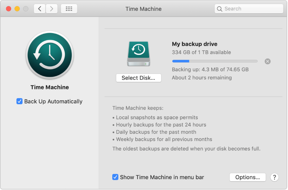 Time Machine preferences showing the progress status of a backup to an external drive.