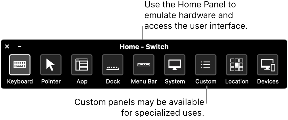 The Switch Control Home Panel provides buttons to control, from left to right, the keyboard, pointer, app, Dock, menu bar, system controls, custom panels, screen location, and other devices.