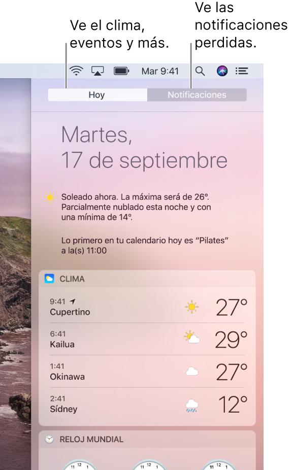 La vista Hoy mostrando el clima en tres lugares. Haz clic en la pestaña Notificaciones para ver las que te has perdido.