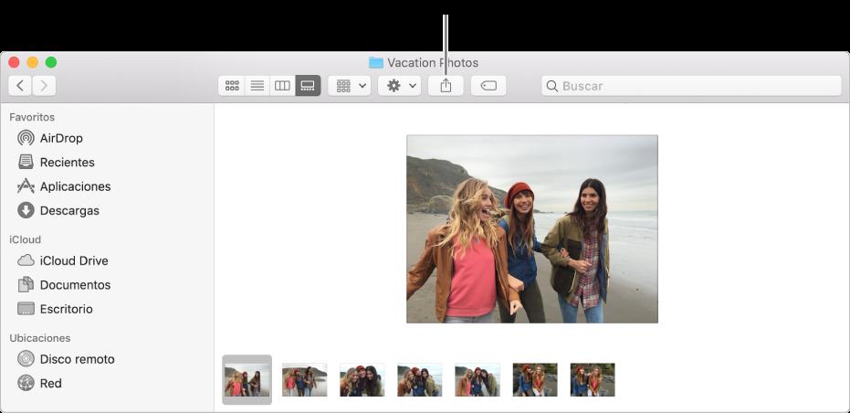 El botón Compartir en una barra de herramientas de la ventana del Finder.