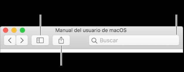 Una ventana de ayuda mostrando en la barra de herramientas el botón para ocultar o mostrar la tabla de contenido, el botón para compartir un tema y el campo de búsqueda para buscar temas.