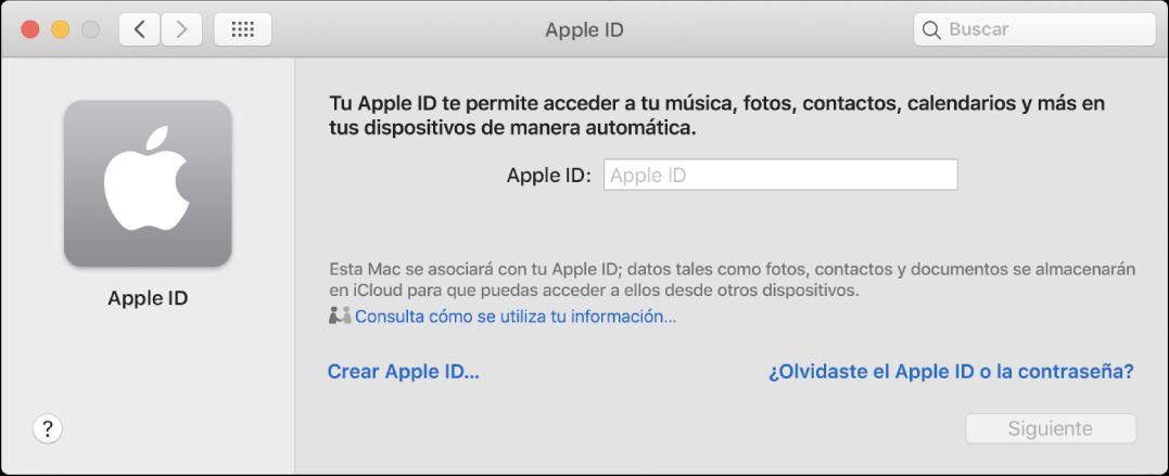"""Cuadro de diálogo de AppleID listo para que el usuario ingrese un AppleID. El enlace """"Crear Apple ID"""" te permite crear un AppleID nuevo."""