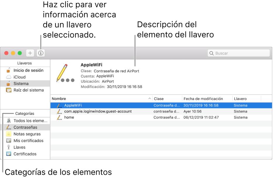 Las siguientes son las áreas principales de la ventana de Acceso a Llaveros: la lista de categorías, la lista de elementos de los llaveros, y una descripción de los elementos de los llaveros.