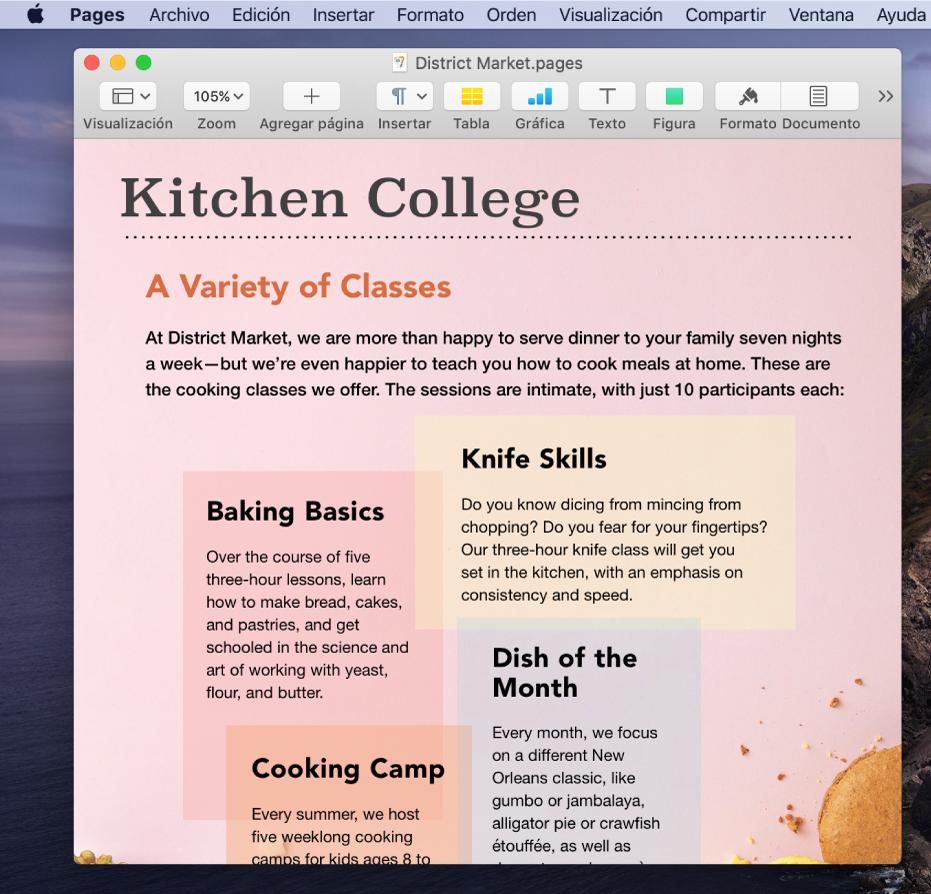 Un documento en la app Pages en el escritorio.