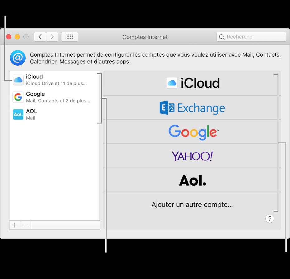 Préférences Comptes Internet avec des comptes répertoriés à droite et les types de comptes disponibles, à gauche.