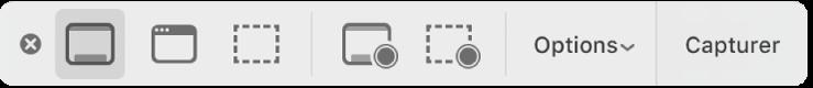 La sous-fenêtre d'outils de l'outil de capture d'écran.
