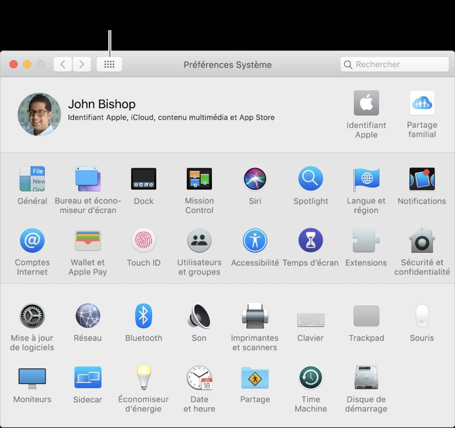 Grille d'icônes dans la fenêtre des Préférences Système. Cliquez sur le bouton Tout afficher dans la barre d'outils de la fenêtre pour afficher les préférences système sous forme de liste, ou pour changer l'aspect de la grille.