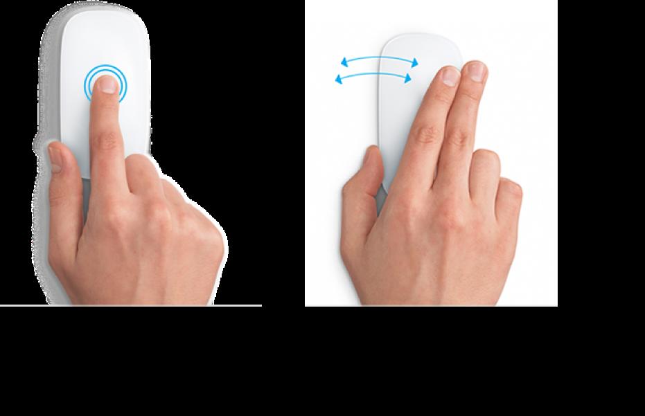 वेबपृष्ठ को ज़ूम इन और ज़ूम आउट करने और फ़ुल-स्क्रीन ऐप्स के बीच आने-जाने के लिए माउस जेस्चर के उदाहरण।
