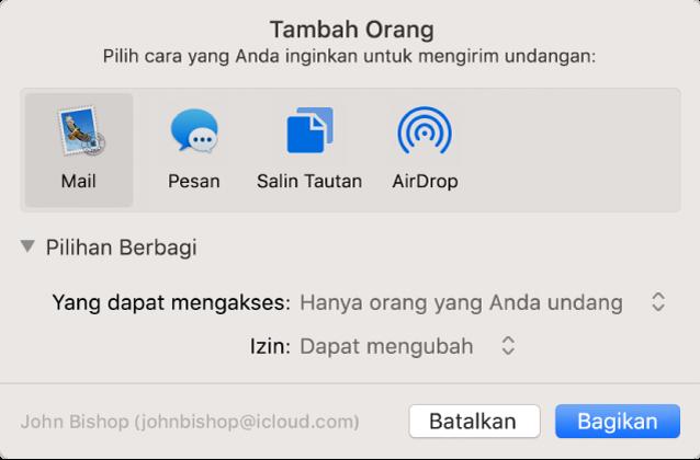Jendela Tambah Orang menampilkan app yang dapat Anda gunakan untuk membuat undangan dan pilihan untuk berbagi dokumen.