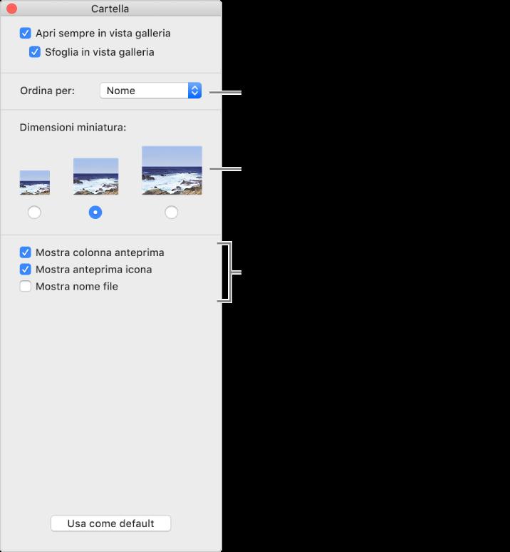 Opzioni per la vista galleria: Puoi scegliere la modalità di ordinamento degli elementi e le dimensioni per le miniature, mostrare l'anteprima di un elemento selezionato in una colonna separata, visualizzare informazioni di anteprima all'interno delle icone e mostrare il nome file.