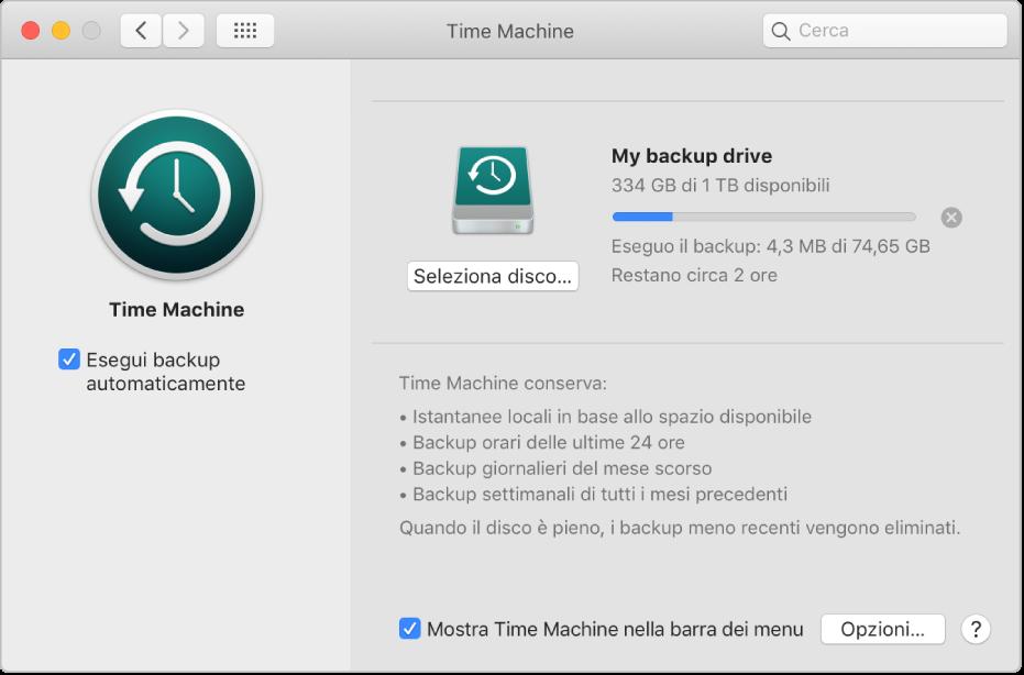 Preferenze di Time Machine che mostrano lo stato di avanzamento di un backup su un'unità esterna.