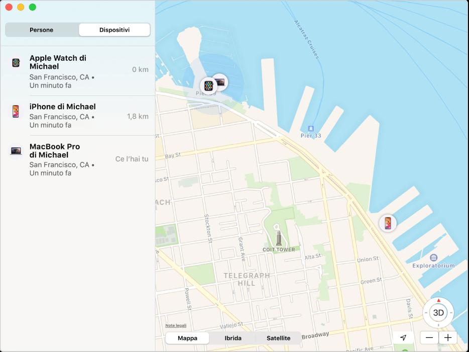 L'app Dov'è con un elenco dei dispositivi nella barra laterale e la loro posizione su una mappa sulla destra.