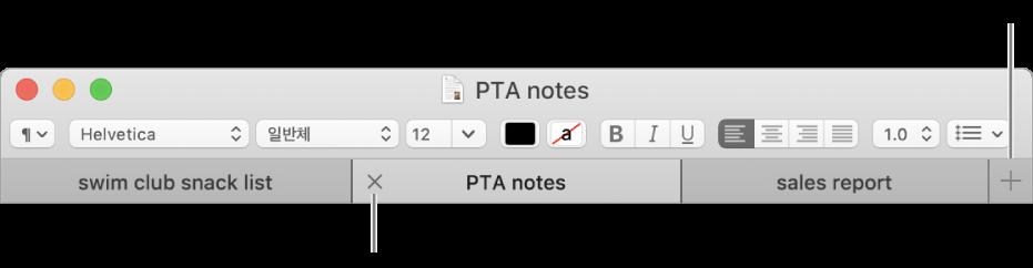 포맷 막대 하단 탭 막대 세 개의 탭이 있는 텍스트 편집기 윈도우 한 탭에 닫기 버튼이 있으며 추가 버튼은 탭 막대 맨 오른쪽에 있습니다.