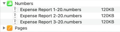 펼침 버튼이 선택되어 기기로 동기화된 파일을 세 개의 파일을 표시하는 파일 윈도우의 Numbers 앱.