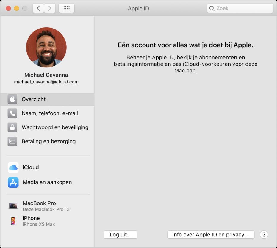 Het paneel 'AppleID' in Systeemvoorkeuren, met een navigatiekolom met daarin verschillende typen accountopties die je kunt gebruiken, en het voorkeurenpaneel 'Overzicht' voor een bestaande account.