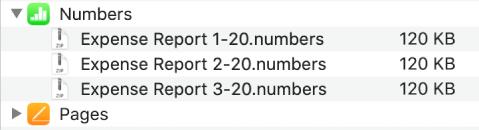 Aplikacja Numbers woknie Pliki zwybranym przyciskiem rozwijania. Poniżej widoczne są trzy pliki zsynchronizowane zurządzeniem.